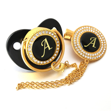 Handmade Rhinestone Crystals Bling Baby Initial Letter Pacifier and Clip Black Dummy Cocka Chupeta