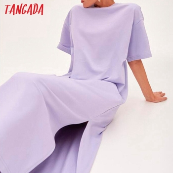 Tangada 2021 Women Elegant 95% Cotton Sweatshirt Dress Oversized Short Sleeve Side Open Ladies Midi Dress 6L60 1