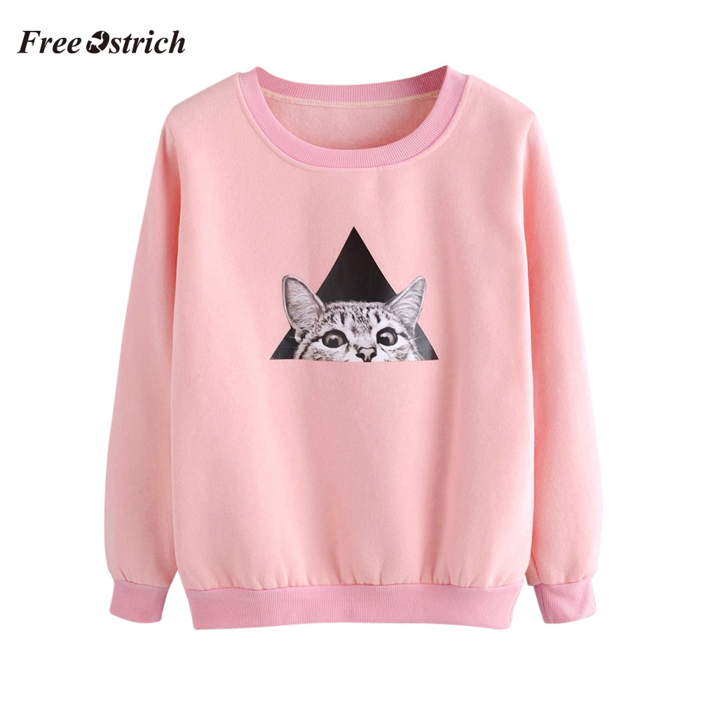 Free Ostrich High Fashion Women Casual Simple Cat Print Loose Sweatshirt Long Sleeve Comfortable Soft Pullover Tops Blouse 91025