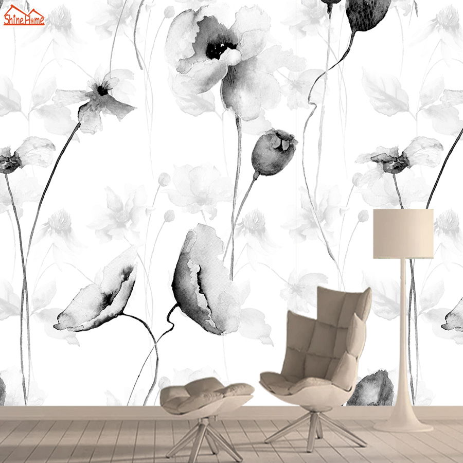 Black White Flower Wall Paper Papers Home Decor 3d Wallpaper Mural Wallpapers For Living Room Self Adhesive Walls Murals Rolls