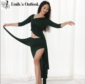 Image 2 - Winter Warm Dance Costume Modal Long Sleeve Women Oriental Dance Practice Outfit Sexy Skirt 2 Piece Set X Large Big Size