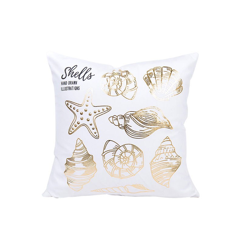 home using sea creature pattern cushion cover 45*45cm no inner golden hot stamping capa de almofada for seat X23