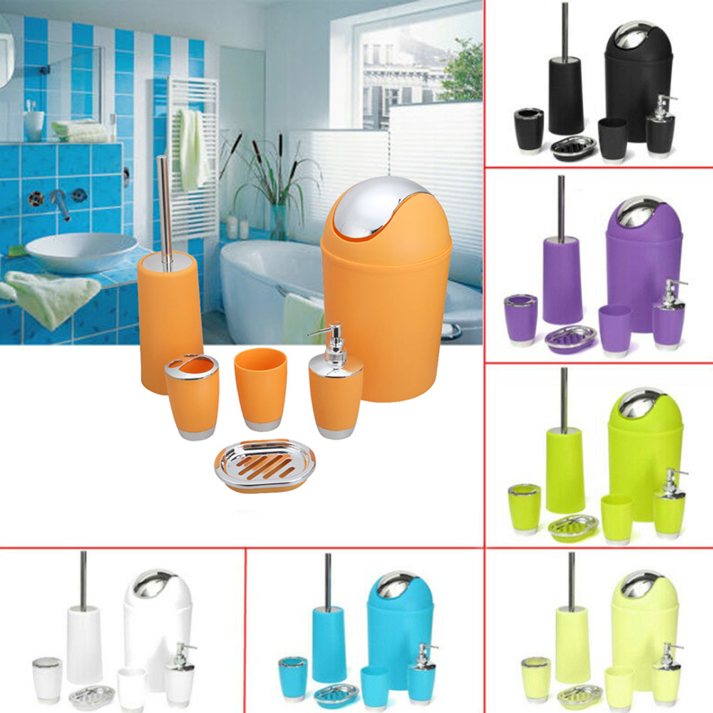 6Pc Bathroom Accessory Set Bin Soap Dish Dispenser Tumbler Toothbrush Holder Lime Green
