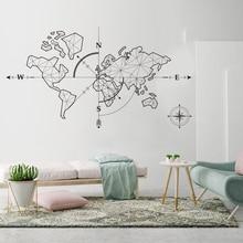 Large World Map Compass Earth Wall Sticker Classroom Travel Global Exploration Adventure Decal Vinyl Decor LW247