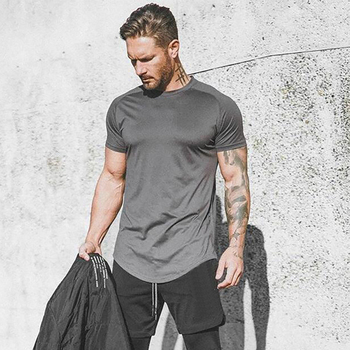 Running Shirt Men Mesh Fitness Tops Tees Sport O-neck T-shirt Gym Training Short Sleeve Workout Breathable Sportswear Jerseys