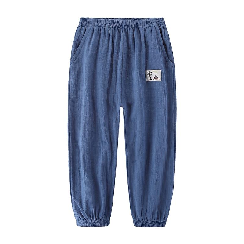 Children Trousers For Boys Girls Cotton Linen Elastic Waist Solid Color Summer Mosquito Pants Kids Clothing Long Pants 100-160cm