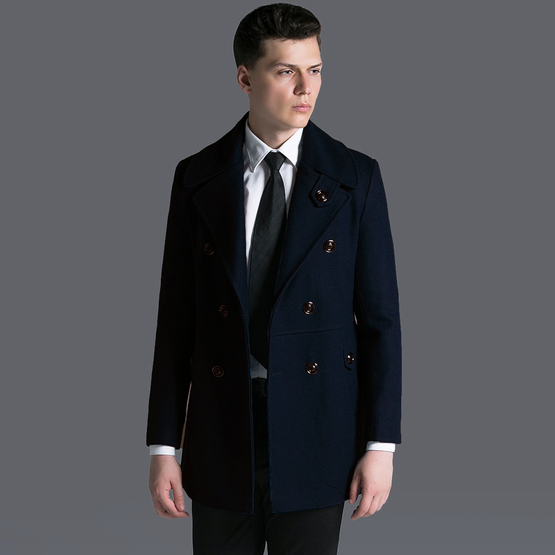 British Style Men Short Military Army Wool Jacket Coat Winter Plus Size Double Breasted Slim Fit Thick Casual Cashmere Pea Coat