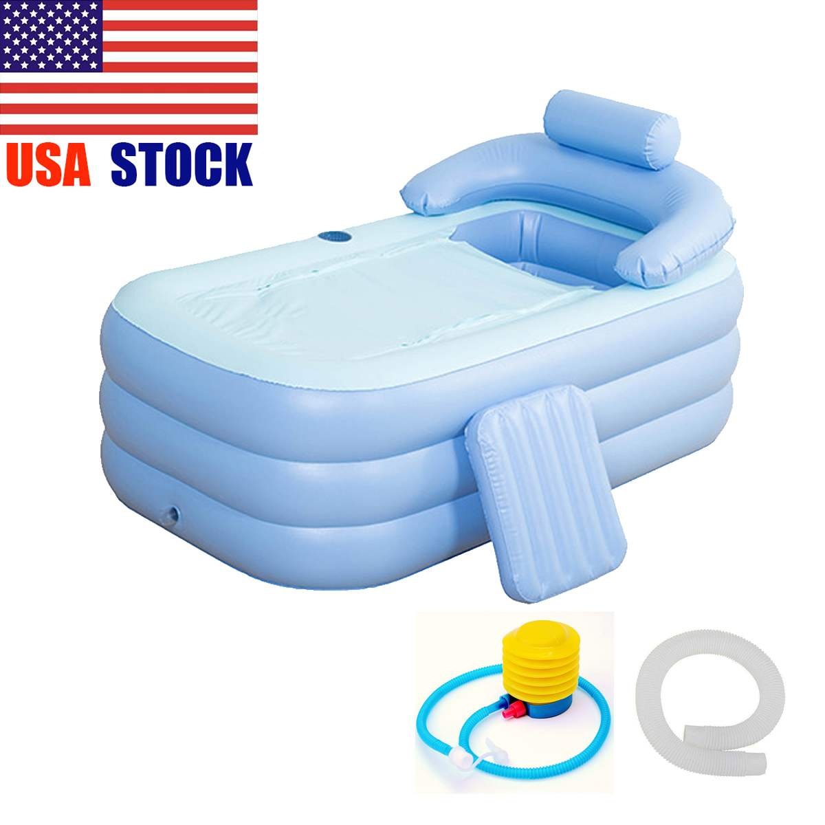 160 *84* 64cm Blue Large Size PVC Folding Portable Inflatable Bath Bathtub For Adults W/ Foot Pump SPA Household Inflatable Tub