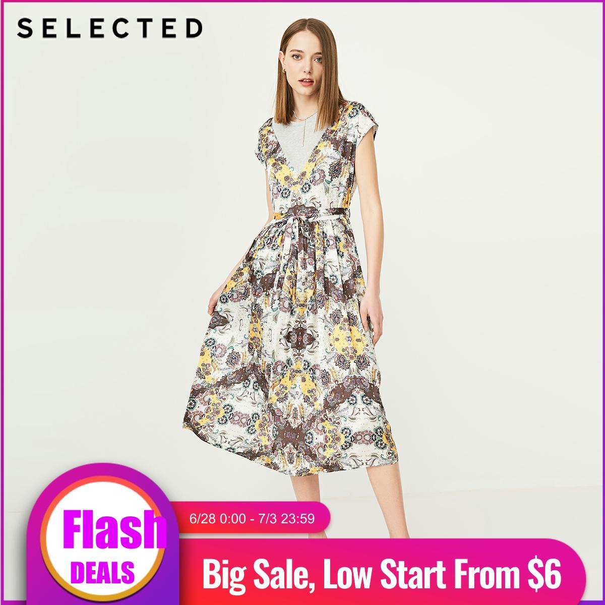 SELECTED Women's Summer National Print Splice Dress S|419261503
