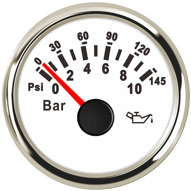 10 بار النفط قياس الضغط متر 145psi لسيارة دراجة نارية السيارات قارب شاحنة RV 12 فولت 24 فولت الأحمر الخلفية 52 مللي متر