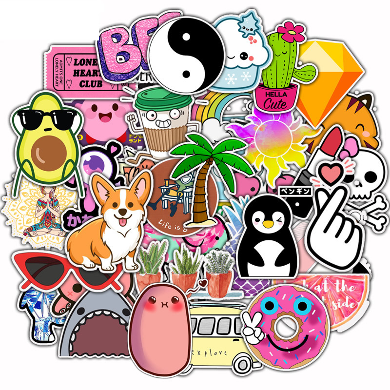 50pcs/Pack Cartoon Waterproof Animal Fruit Graffiti Stickers Skateboard Suitcase Guitar Girls Funny Sticker Kids Classic Toy
