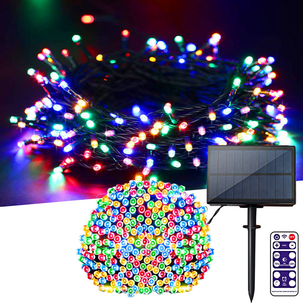 Upgraded 1200mAh LED Fairy Light Solar String Light Outdoor 100/200/300LEDs IP65 Decorate Holiday Christmas Party Garden Light