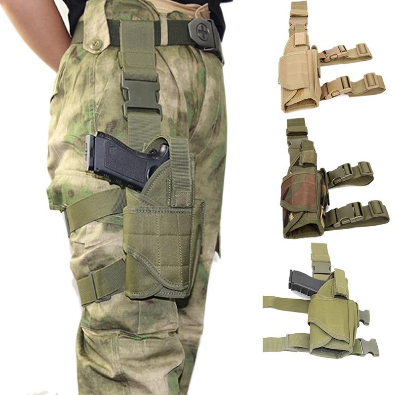 Tactical Left/ Right Drop Leg Gun Holster For Glock Beretta Usp Airsoft Pistol Gun Bag Holster Case Adjustable Universal Sheath