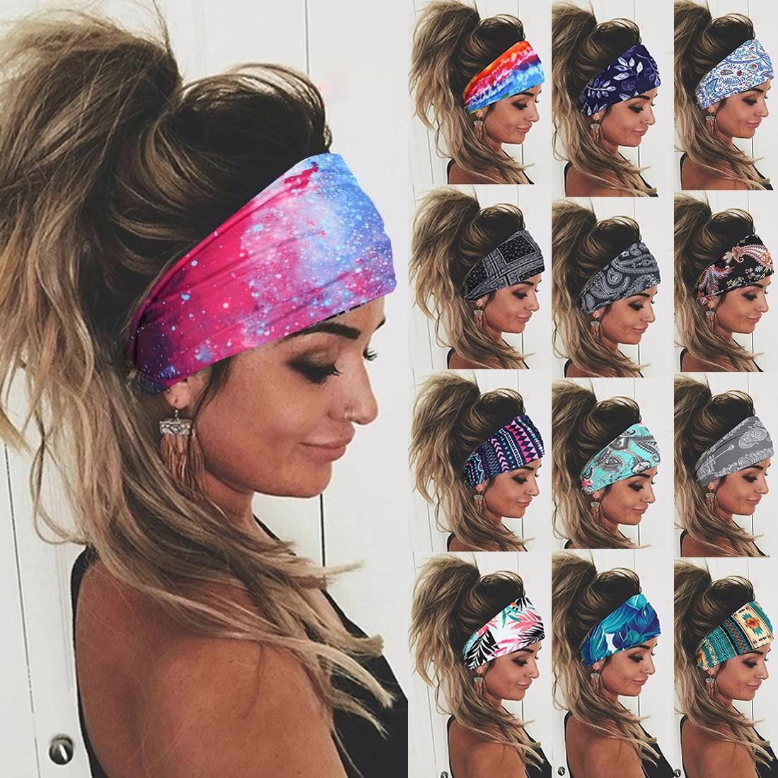 Повязка для волос Tie-dye женская, Спортивная эластичная резинка для волос для бега, тренажерного зала, велоспорта, нескользящая, спортивная