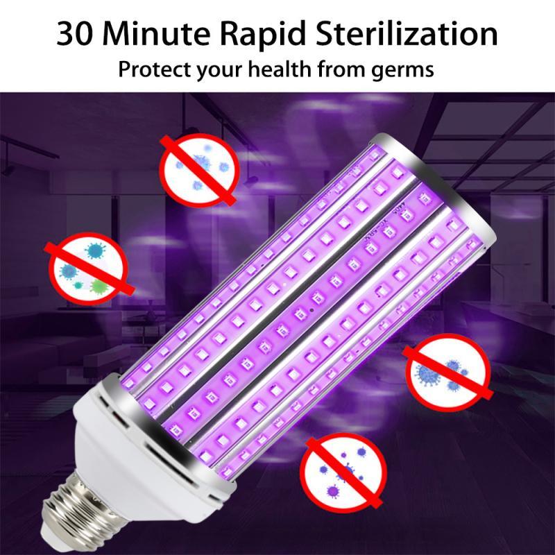 60W LED Bactericidal Lamp 220V Ultraviolet LED Corn Bulb E27 UV Lamp Disinfection Light 110V UV Germicidal LED Sterilizer Light