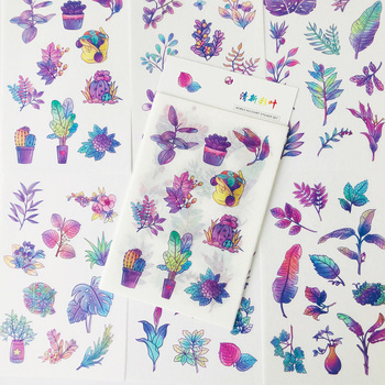 6 Sheets/Pack Purple Gradient Leaf Flowers Paper Stickers Decorative Album Diary Hand Account Decor - discount item  15% OFF Stationery Sticker