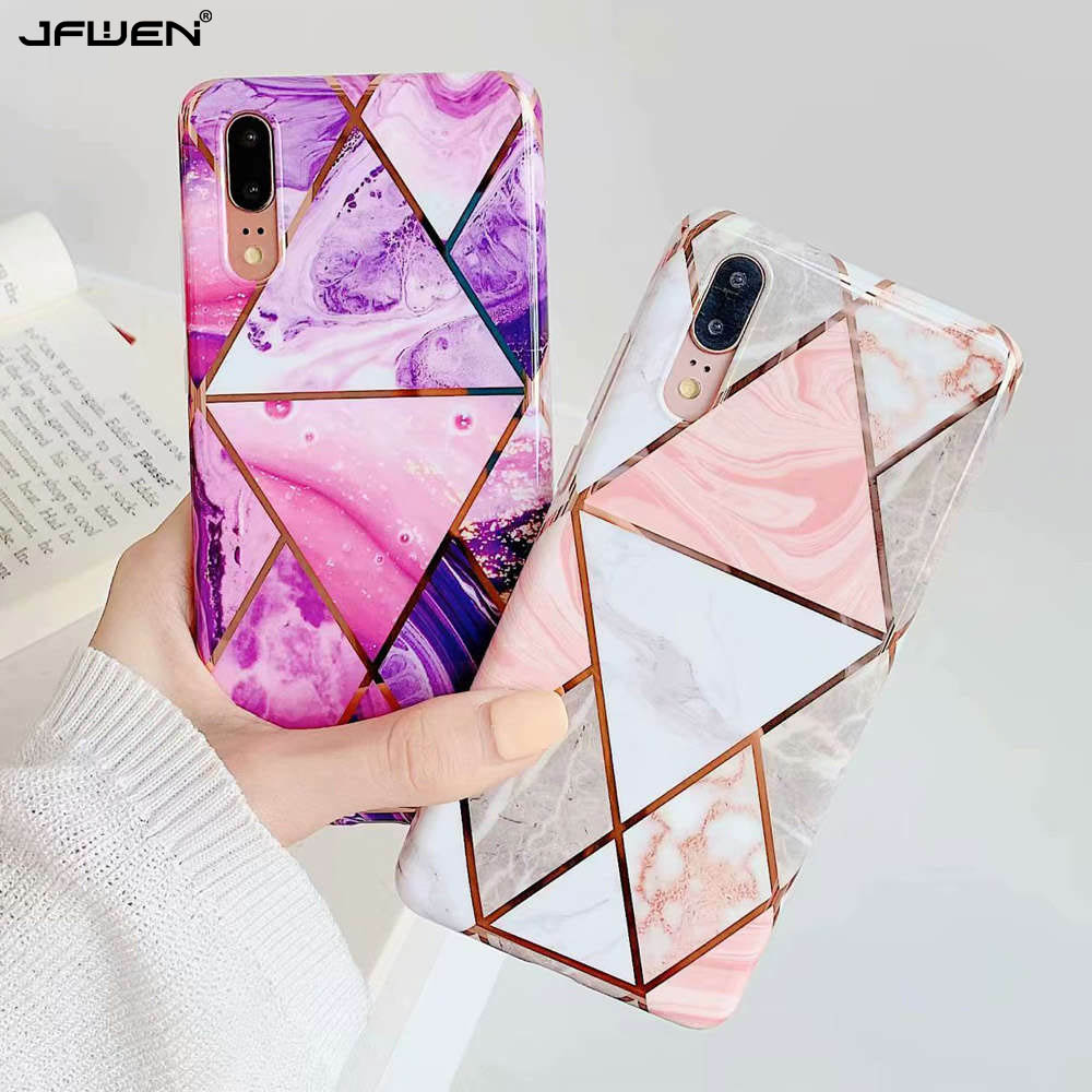 Luxury Plating Geometric Phone <font><b>Cases</b></font> For <font><b>Samsung</b></font> <font><b>Galaxy</b></font> A40 <font><b>A50</b></font> A70 <font><b>Case</b></font> For <font><b>Samsung</b></font> <font><b>Galaxy</b></font> A40 <font><b>Case</b></font> <font><b>Marble</b></font> Silicone Back Cover image