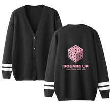 Kpop Blackpink JISOO JENNIE ROSE LISA Print fashion V-neck single-breasted sweater sweatshirt Women Casual coat clothes