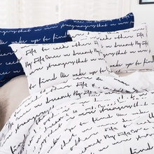 White Color letters Bedding Set Polyester Duvet Quilt Cover Pillowcases Queen Size 3PCS cheap wongs bedding None Duvet Cover Sets 100 Polyester 2 0m (6 6 feet) 2 2m (7 feet) quality 400TC Printed Europe Reactive Printing