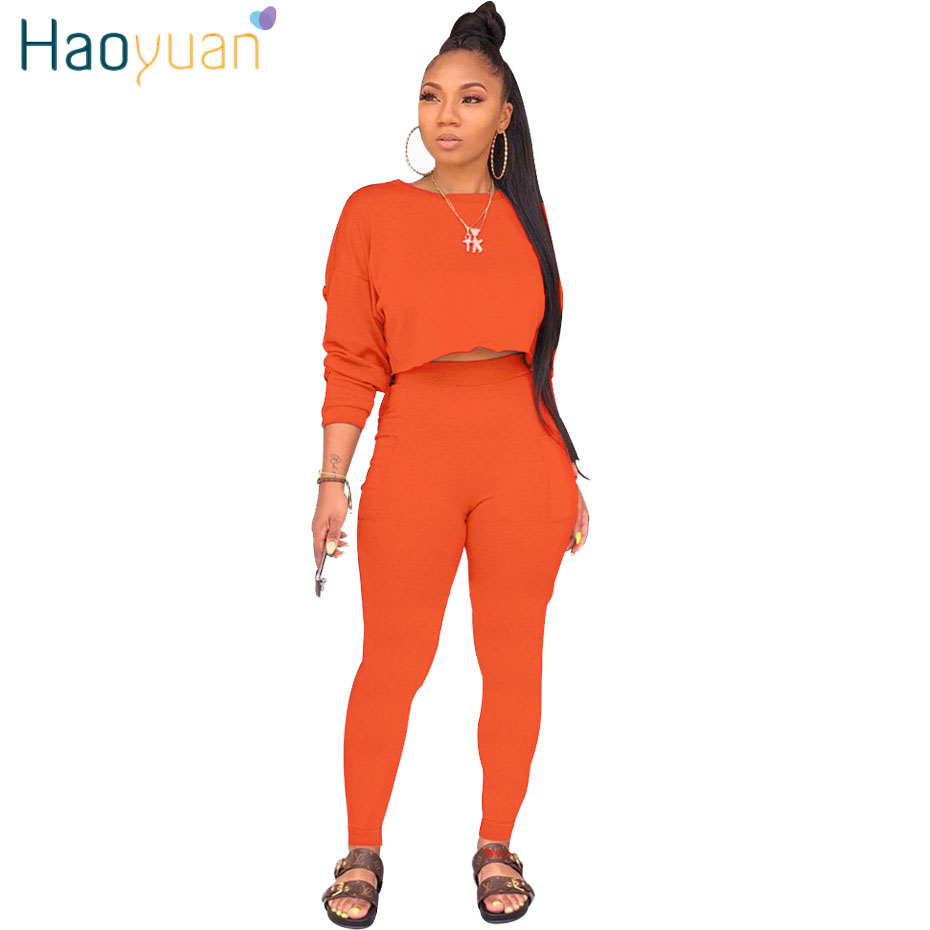 HAOYUAN 2 Piece Set Women Tracksuit Long Sleeve Loose Crop Top Pants Sweat Suit Fall Clothing Two Piece Outfits Matching Sets