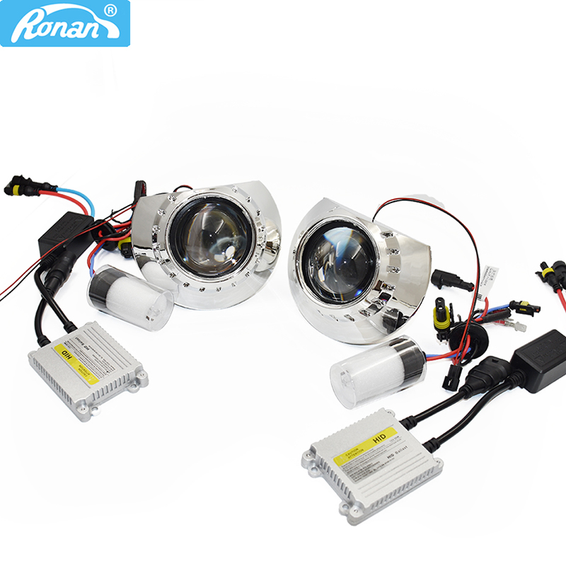 Ronan LHD/RHD 2.5 Inch HID Bi-xenon Lens Projector Headlight Kit 4300k 5000k 6000k Xenon HID Full Kit H1 Car Styling