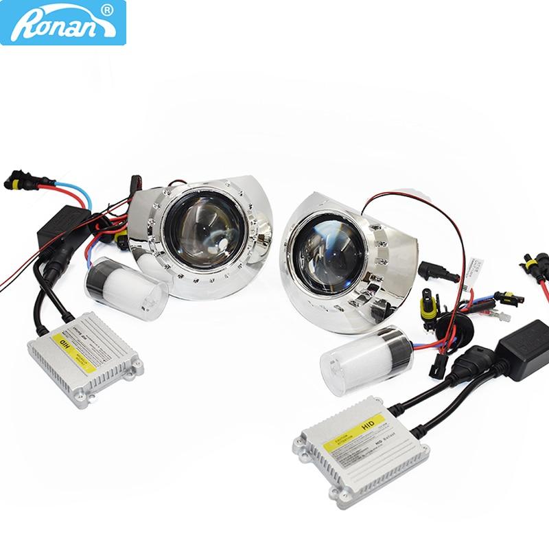 Ronan LHD/RHD 2.5 Inch HID Bi-xenon Lens Projector Headlight Kit 4300k 5000k 6000k Xenon HID Full Kit H1 Car Styling