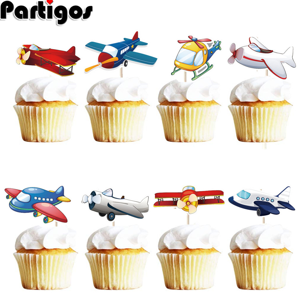 Airplane Theme Cake Decoration Cartoon Clouds Aircraft Boys Happy Birthday Cupcake Topper Baby Party Baking Decor Supplies image