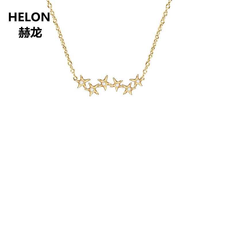 100% SI/H pełna Cut naturalny diamenty wisiorek naszyjnik z litego 18k żółte złoto zaręczyny ślub kobiety wisiorek biżuteria na prezent