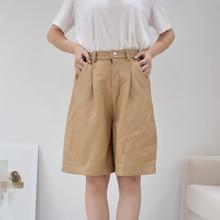 Genuine leather shorts women high waist 2020 new autumn winter elastic waist plus size wide leg sheepskin leather trouser