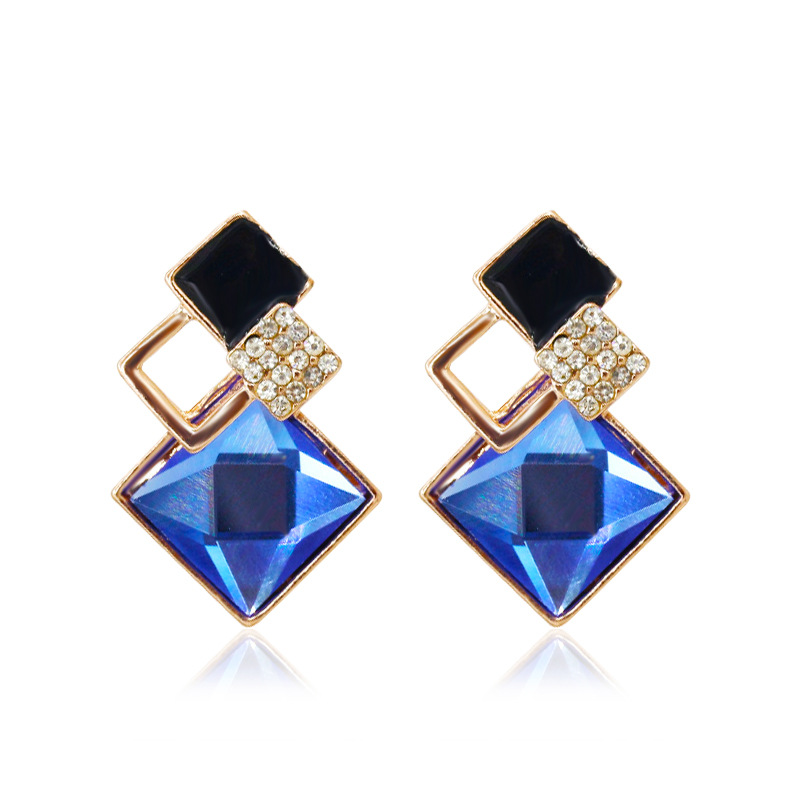 Zircon Crystal Shiny Exaggerated Temperament Earrings Fashion Wild Crystal Earring Trend Jewelry
