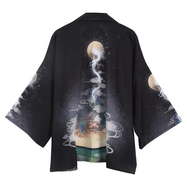 Summer New Japanese Ukiyo-e Retro Kimono Dragon Haori Robe Print Cardigan Three Quarter Men And Women Loose Outcoat Samurai
