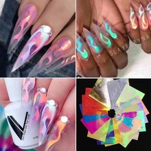 16pcs/lot  Fire Nail Holographic Strip Tape Art Stickers Thin Laser Silver Stripe Sticker DIY Foil Decal