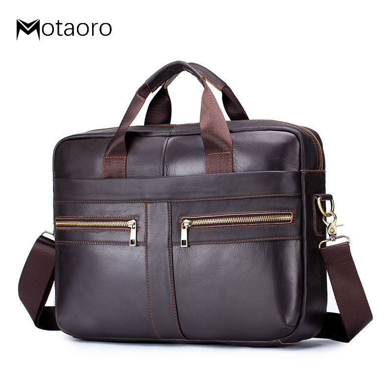 Briefcase Men's Men Leather Genuine Briefcase Bag For Business Office Laptop Bags Large Capacity Cowhide Handbag Bolso Hombre