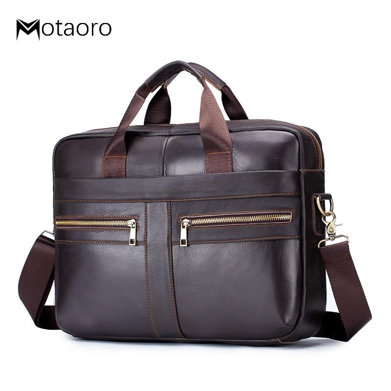 Briefcase Men's Men Leather Genuine Briefcase Bag For Business Office Laptop Bags Large Capacity Cowhide Handbag Bolso Hombre