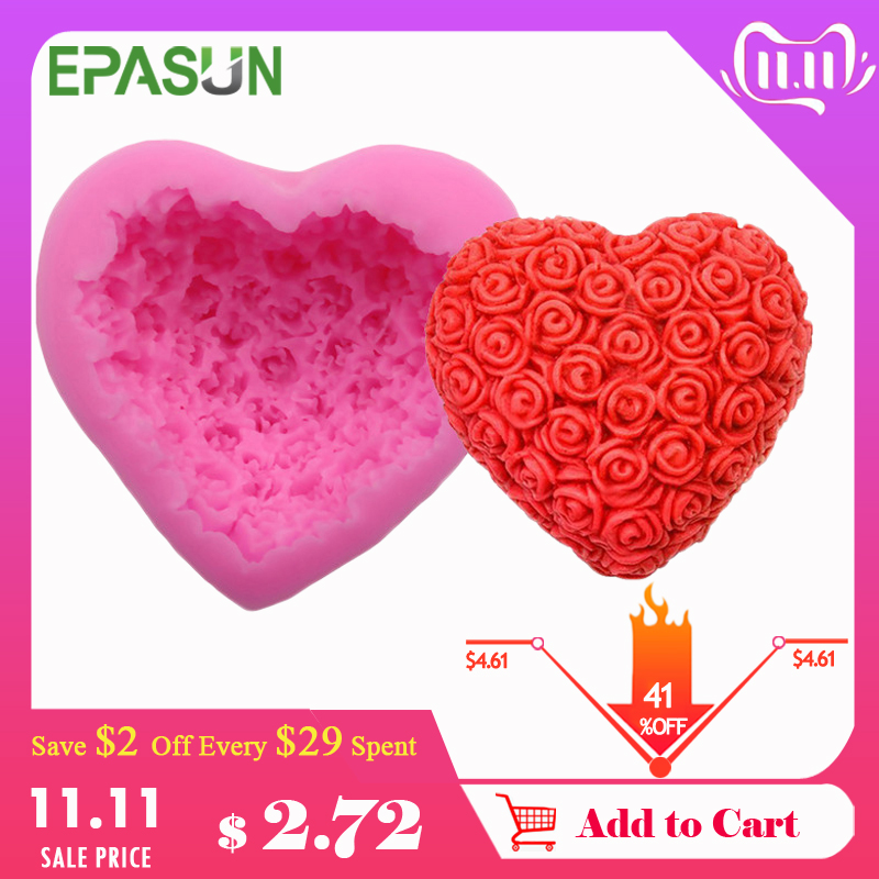 EPASUN Lovely Heart Silicone Soap Mold Flower Rose Diy Form Foadant Soap Making 3d Handmade Decorating Moule Savon Mould Tools