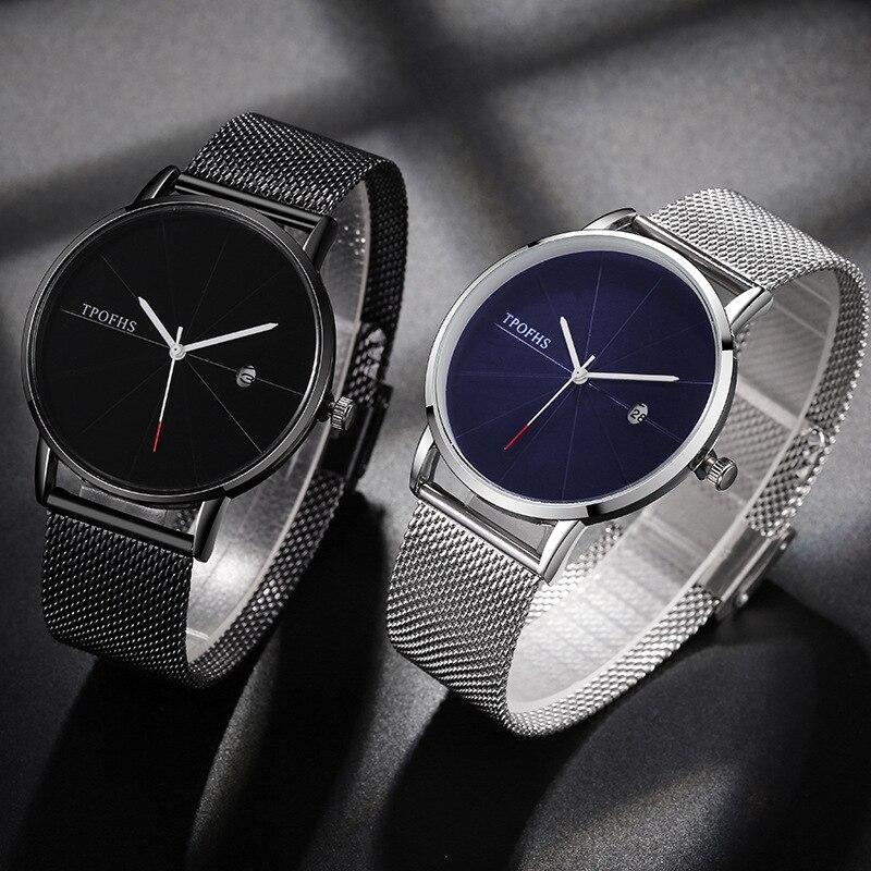 2019 Blue Dial Ultra-thin Calendar Quartz Student Watch Meridian Titanium Steel Strap Men's Fashion Watch Factory Direct Sales
