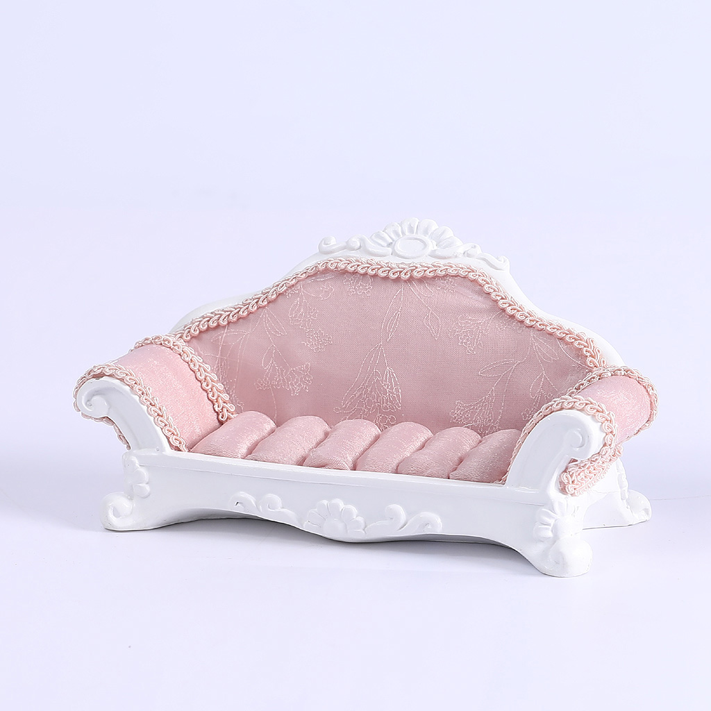 Pink Lace Sofa Shape Ring Earring Studs Jewelry Display Storage Showcase