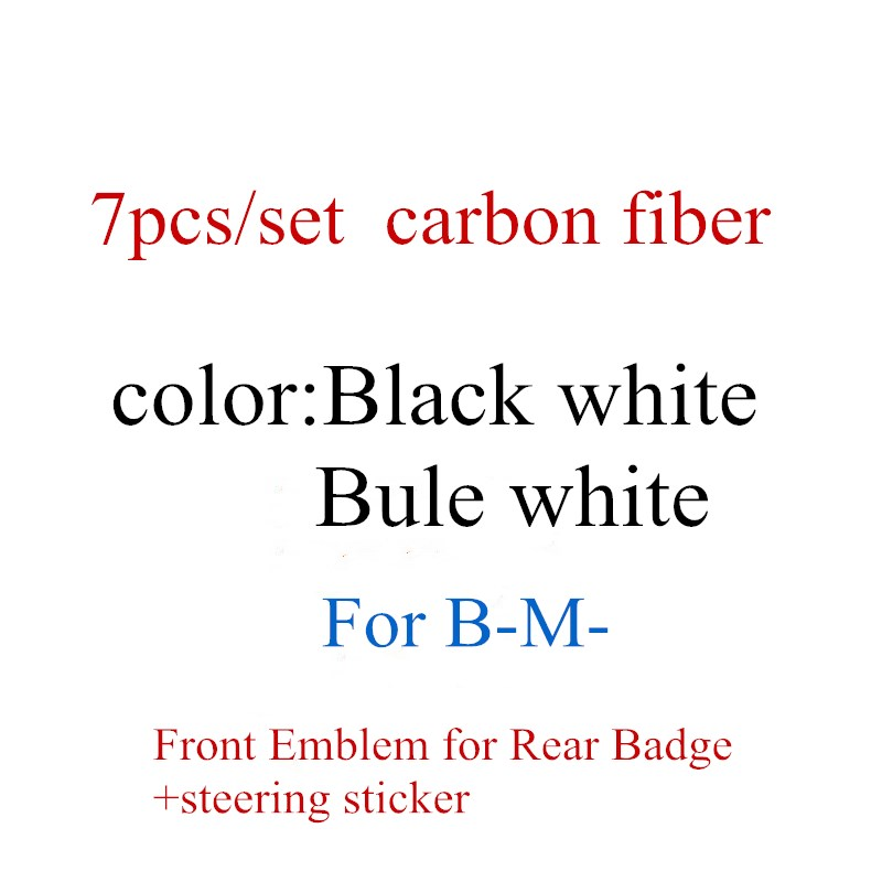 7 шт./компл. черно-белая/сине-белая передняя эмблема из углеродного волокна для заднего значка BMW + колпачок на 4 колеса 68 мм + наклейка на руль ...