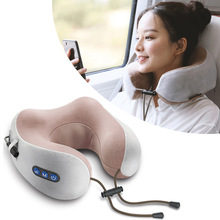 U-shaped Neck Massage Pillow Portable  Cervical Massage Home Travel Pain Relieving Vibrating Shiatsu Massager with Memory Foam