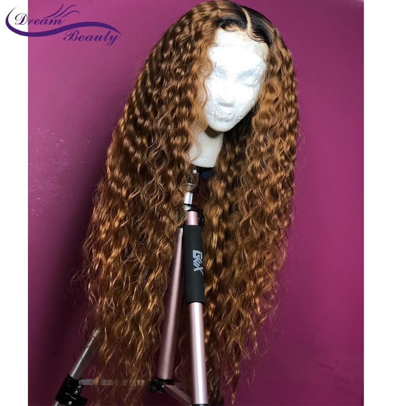 H94e53208fe2a4e469238c685ff7ee93bY Ombre Blonde Curly Wig 13x4 Lace Front Human Hair Wigs Pre Plucked Ombre 1B/27 Color Brazilian Remy Hair Baby Hair Dream Beauty