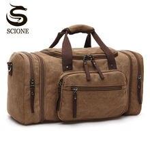 Large Capacity Men Hand Luggage Travel Duffle Bags Canvas Travel Bags Weekend Shoulder Bags Multifunctional Overnight Duffel Bag