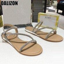 цена на Summer Chain Rhinestone Women Open Toe Buckle Strap Fashion Lady Feminine Flat Beach Slingback Sandals Mules Slippers Shoes R277