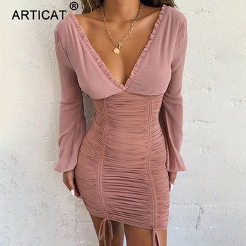 Articat Chiffon Summer Autumn Dress Women 2020 Sexy Long Sleeve Slim Elastic Bodycon Bandage Dress Short Pleated Party Dresses 1