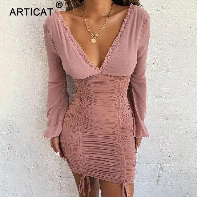 Articat Chiffon Sommer Herbst Kleid Frauen 2020 Sexy Lange Hülse Dünne Elastische Bodycon Verband Kleid Kurze Plissee Party Kleider