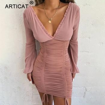 Dámske sexy mini šaty Articats priehľadnými dlhými rukávmi