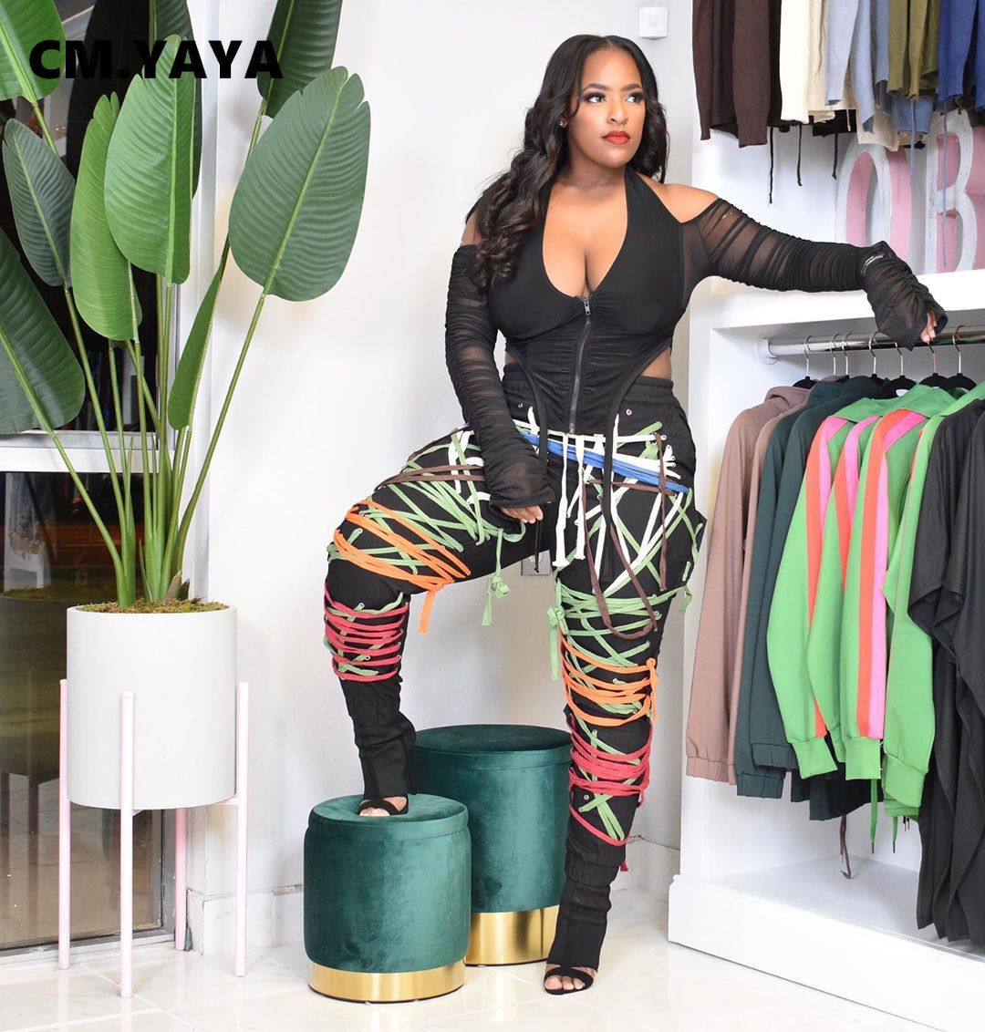 CM.YAYA Streetwear Frauen Lace Up Saiten Hosen Hohe Taille Hip Hop Hosen Active Sport Jogger Jogginghose