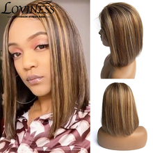 Bob Wig Highlight Human-Hair T-Part Lace Pre-Plucked Virgin Women Short Front Brazilian