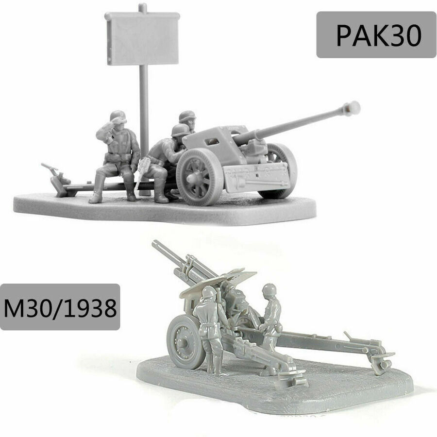 1:72 Military PAK40 M30 Antitank Cannon Assembly Model Kit Building Bricks Puzzle Education Toys For Children Kids Birthday Gift
