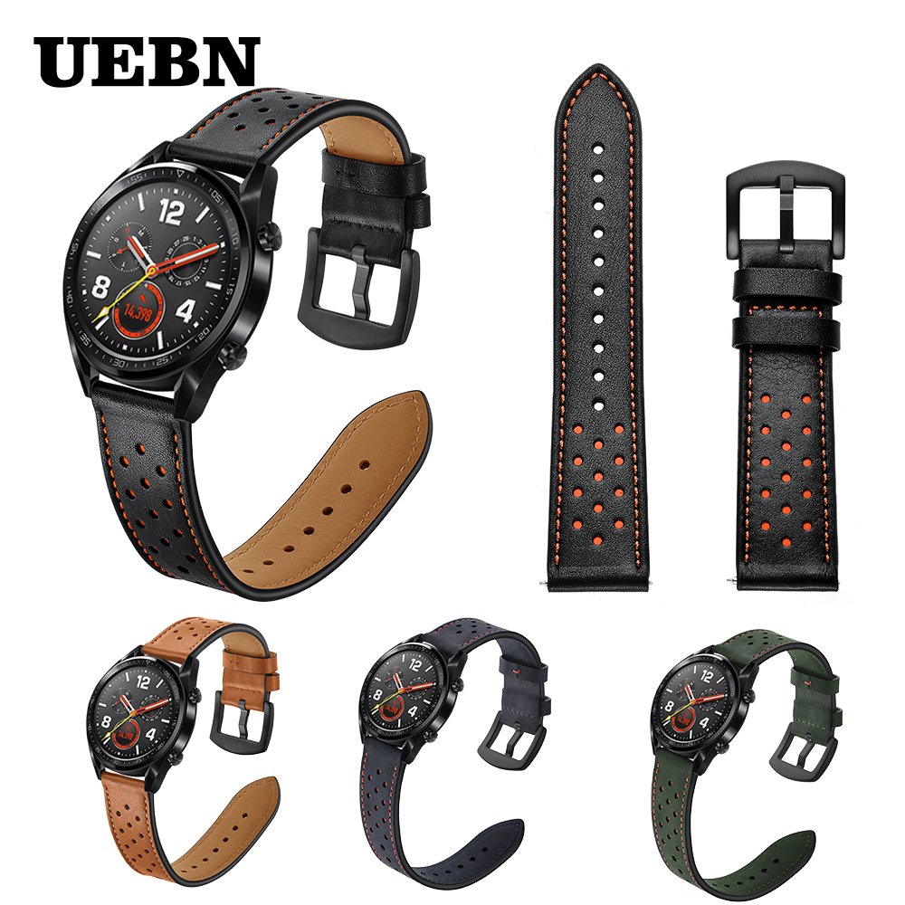 UEBN 22mm Leather Breathable Band Wrist Strap For HUAWEI WATCH GT 2 46mm/GT Active 46mm HONOR Magic Bracelet GT2 Watchband