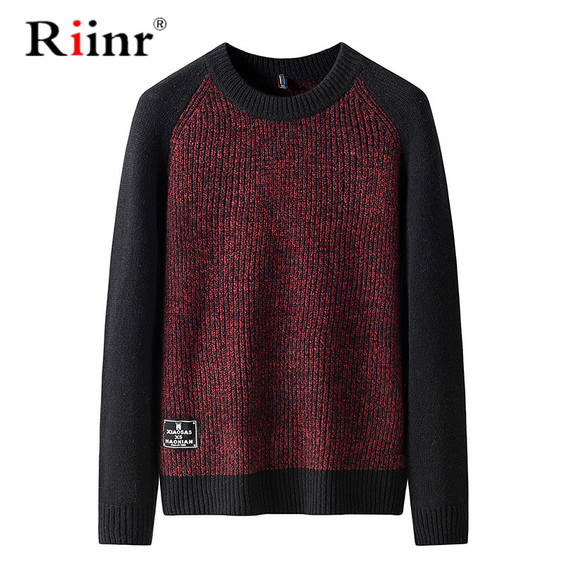Riinr Sweater Men Casual Hit Color O-Neck Pullover Men Clothes 2019 Autumn New Arrivals Pull Homme Plus Size Thin Sweaters